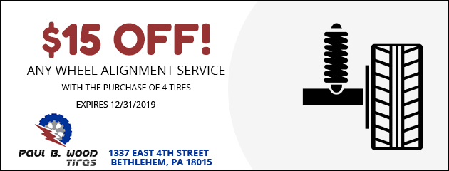 $15 Off!  any wheel alignment service with the purchase of 4 tires