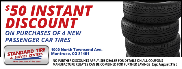 $50.00 instant discount on purchase of 4 new passenger car tire