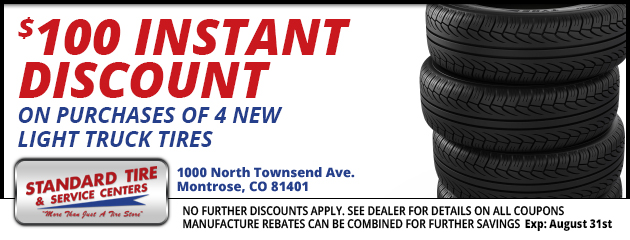 $100.00 instant discount on purchase of 4 new light truck tires