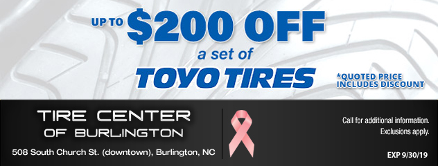 Up to $200 Off a Set of Toyo Tires