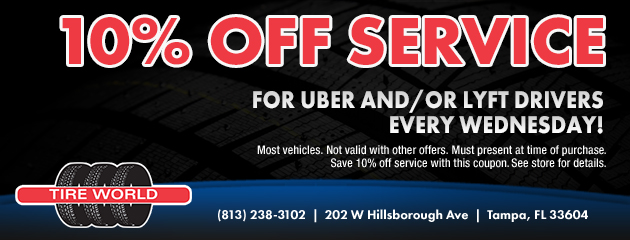 Wednesday 10% off service for uber/lyft drives