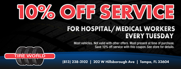 Tuesday 10% off service for hospital and medical workers