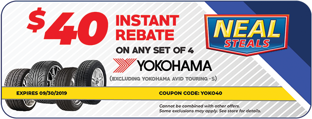 $40 Instant Rebate on a set of Yokohama Tires