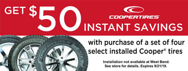 Get $50 Instant Savings with Purchase of 4 Select Installed Cooper Tires