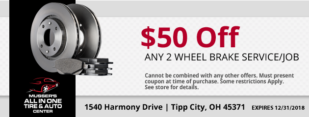 $50.00 Off any 2 wheel Brake service or job