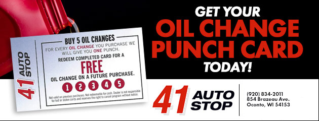 Get Your Oil Change Punch Card!