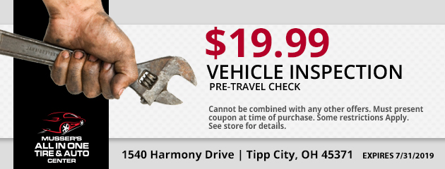 $19.99 Pre Travel Check: Vehicle Inspection