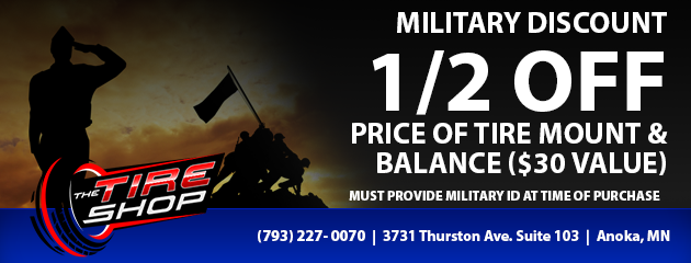 military discount 1/2 off price of tire mount and balance