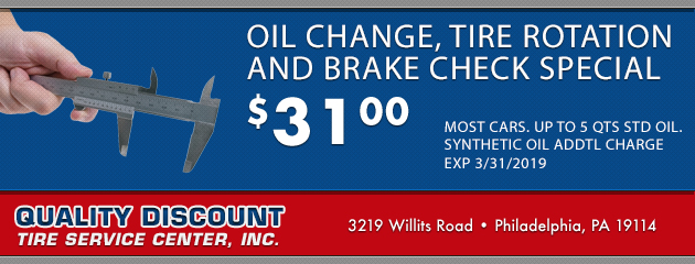 Oil Change, Tire Rotation and Brake Check Special $31