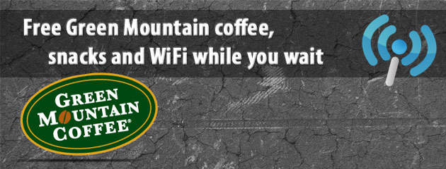Free coffee, wifi and snacks