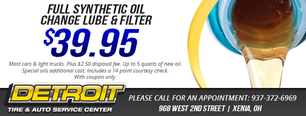 $39.95 Full Synthetic Oil change Lube & Filter