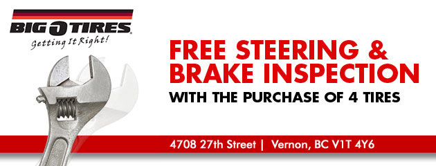Free Steering & Brake Inspection with the purchase of 4 tires