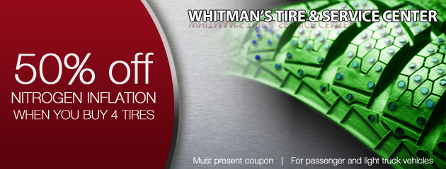 Buy 4 tires and get 50% off for nitrogen inflation
