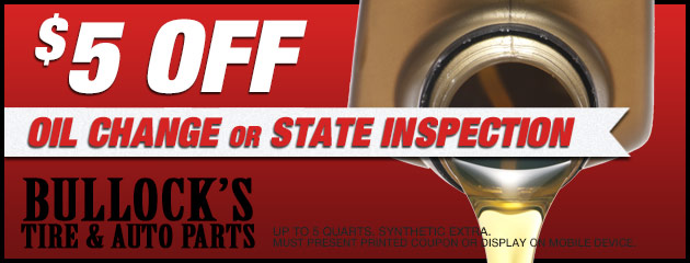 $5 Off Oil Change or State Inspection