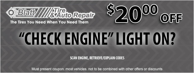 Check Engine Light - $20 off Diagnosis