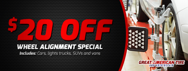 $20 off wheel alignment special