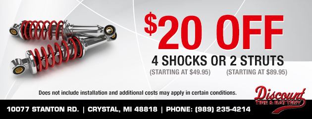 $20 off 4 shocks or 2 struts