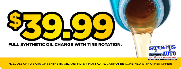$39.99 Synthetic oil change with tire rotation