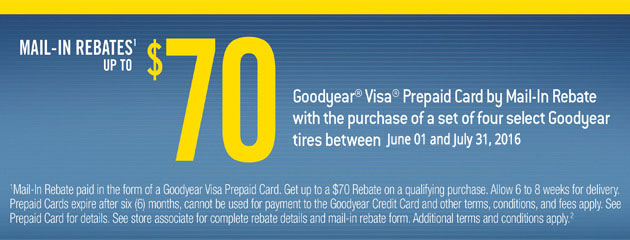 Goodyear Tire Rebate Get up to $70