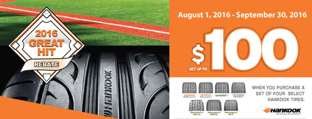Hankook $100 2016 Great Hit Rebate