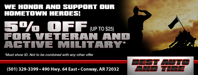 5% off (up to $25) for Veteran & Active Military