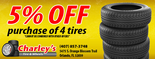 5% off purchase of 4 tires