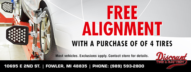 Free Alignment with a purchase of 4 tires