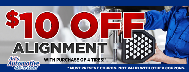 $10 off Alignment with Purchase of 4 Tires!
