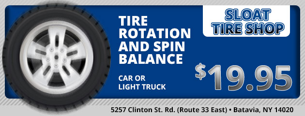 Tire Rotation & Spin Balance: Car or Light Truck $19.95