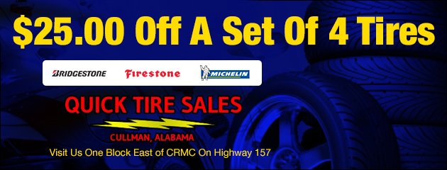 $25.00 Off Set of 4 Tires (Bridgestone, Firestone, Michelin)