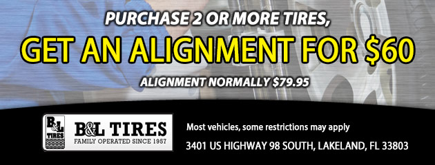 purchase 2 or more tire and get alignment for $60