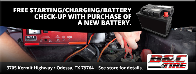 Free starting/charging/battery check-up with purchase of a new battery.