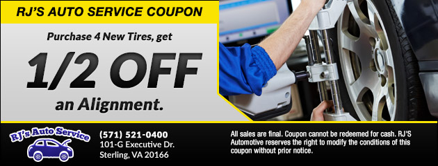 Purchase 4 New Tires, get 1/2 off an Alignment