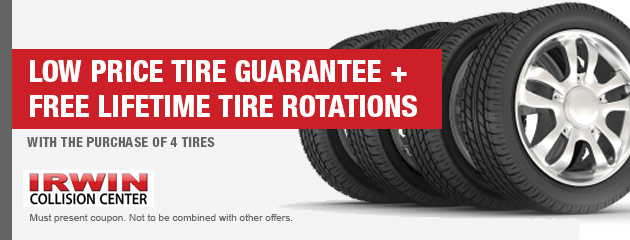Low Price Tire Guarantee + Free Lifetime Tire Rotations with the purchase of 4 tires