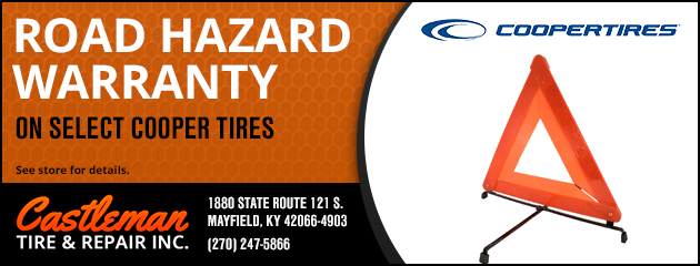 road hazard warranty on select cooper tires, see store for details