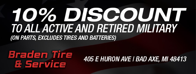 10% discount to all active and retired military