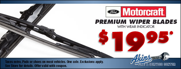 MOTORCRAFT® PREMIUM WIPER BLADES WITH WEAR INDICATOR $19.95
