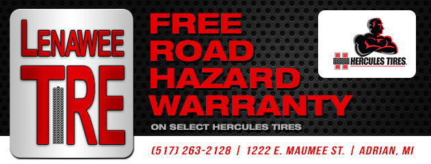 Free Road Hazard warranty on select Hercules Tires