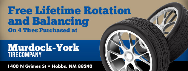 Free Lifetime Rotation and Balancing on 4 Tires Purchased at Murdock-York Tire Co.