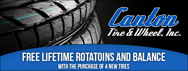 Free lifetime rotatoins and balance with the purchase of 4 new tires