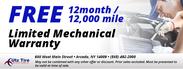 Free 12month / 12,000 mile Limited Mechanical Warranty