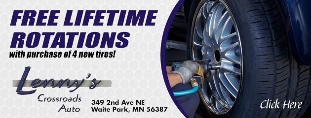 Free lifetime rotations with purchase of 4 new tires!