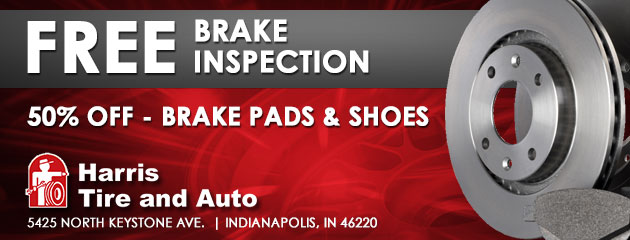 Free brake inspection. 50% off on brake pads and shoes.
