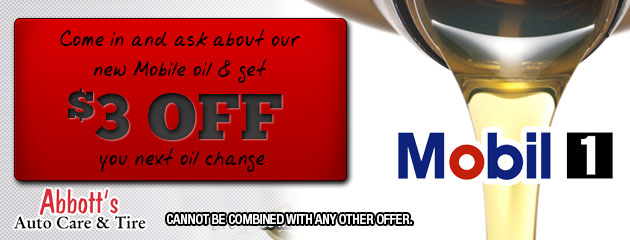 Come in and ask about our new Mobile oil & get $3 OFF you next oil change