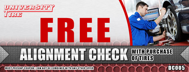 Free alignment check with purchase of tires