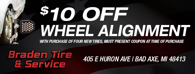 $10 off Wheel Alignment with purchase of four new tires