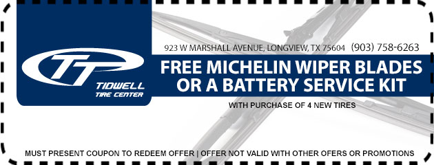 Free Michelin wiper blades or a battery service kit