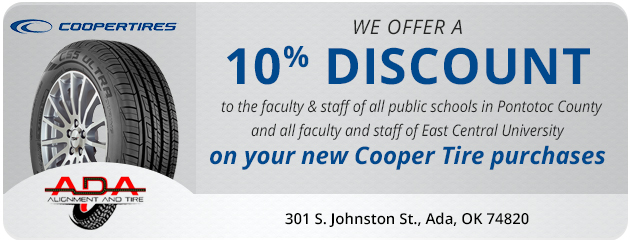10% discount on new Cooper Tires for public schools in Pontotoc County and East Central University