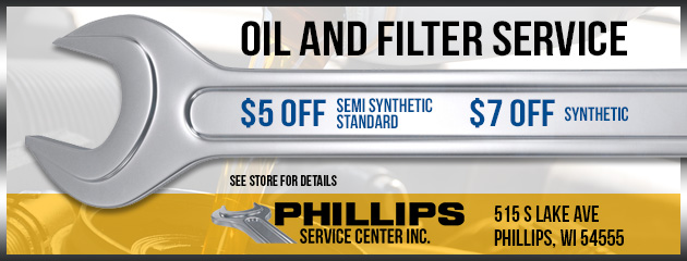 Oil and Filter Service $5 off semi synthetic standard, $7 off synthetic