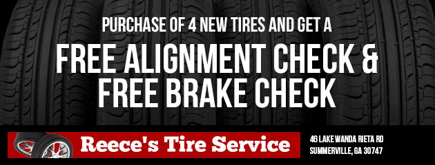 Purchase of 4 new tires and get a free alignment check and a free brake check